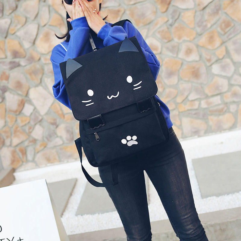 HTB1B3qFSXXXXXX8apXXq6xXFXXXy - Women Cute Cat Backpack Canvas Kawaii Backpacks School Bag for Student Teenagers Lovely Rucksack Cartoon Bookbags Mochilas