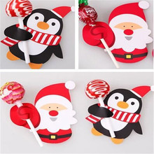 Christmas Baking Decoration Cute Gift Package Decor Cards Lovely Penguin Santa Claus Candy Lollipop Paper