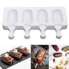 2 размера домашней льда формы для крема 4 полостей Силиконовые DIY Эскимо Плесень инструмент для приготовления сока десерт чайник с 10 палочки для мороженого