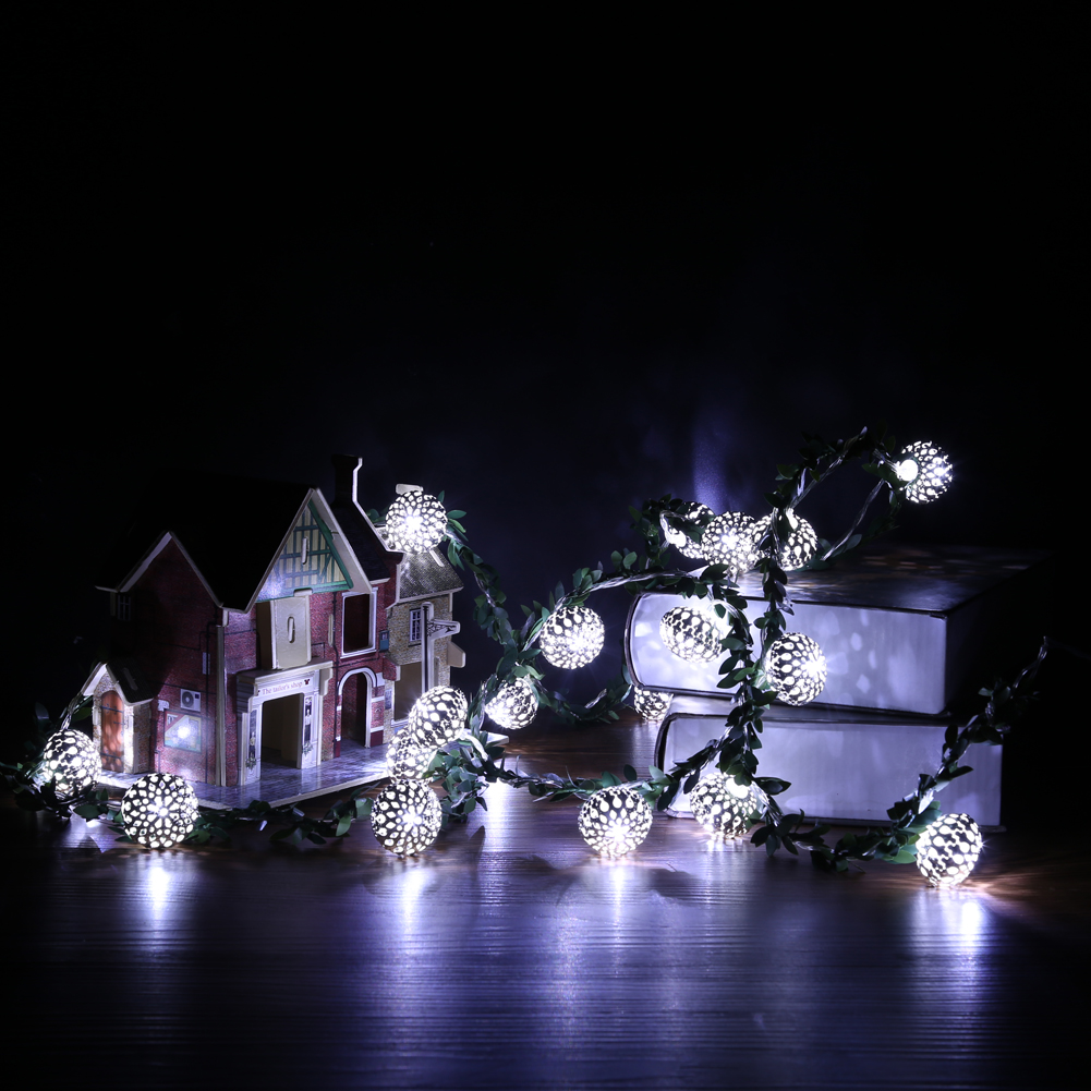 2m Rattan Ball LED Battery Operated String Light for Xmas Garland Party Wedding Decoration Christmas Flasher Fairy Lights