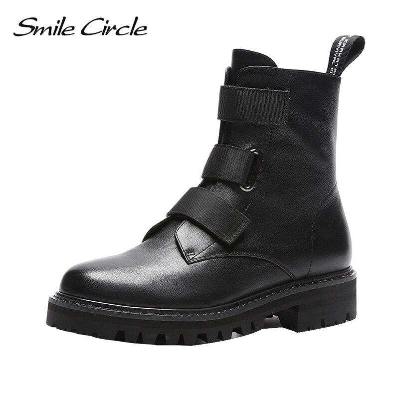 Smile Circle/Женские Ботинки martin из натуральной кожи высокого качества, черные модные ботинки в стиле панк, 2018 зимняя женская обувь