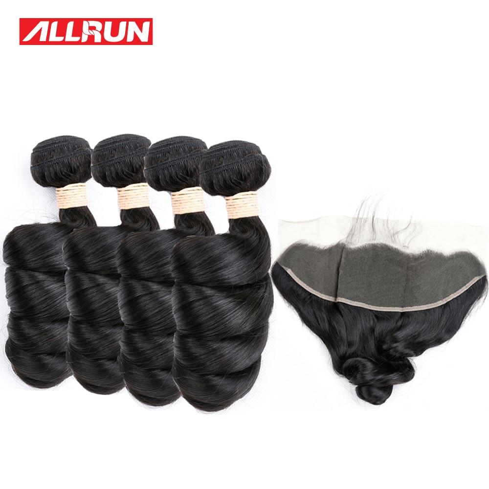 Allrun Малайзии 4 Связки свободная волна с 13*4 Синтетический Frontal шнурка волос Синтетическое закрытие волос Человеческие волосы ткань натураль...