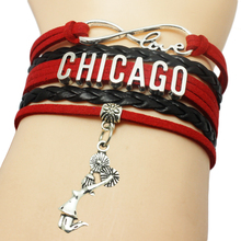 Chicago Basketball Cheers Charm Pendant Bracelet Multi Layers Braid Bracelet Custom Girl Cheer Sport Bracelet