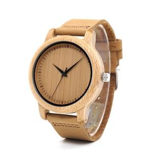 Image 3 - BOBO kuş erkek bambu saatler lüks marka hakiki deri kayış Analog ahşap Quartz saat Casual saatler bayanlar kol saati C A09
