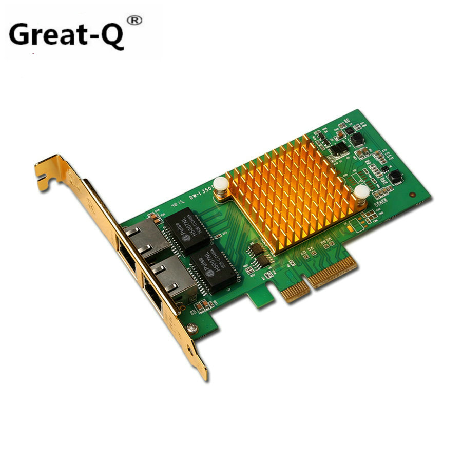 цена на Great-Q New I350-T2 PCI-E 4X Server Dual RJ45 Port Gigabit Ethernet LAN Intel i350t2 1000Mbps Network Card