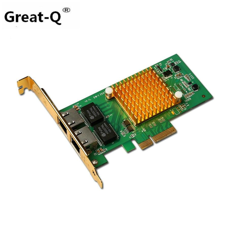 Great-Q New I350-T2 PCI-E 4X Server Dual RJ45 Port Gigabit Ethernet LAN Intel i350t2 1000Mbps Network Card