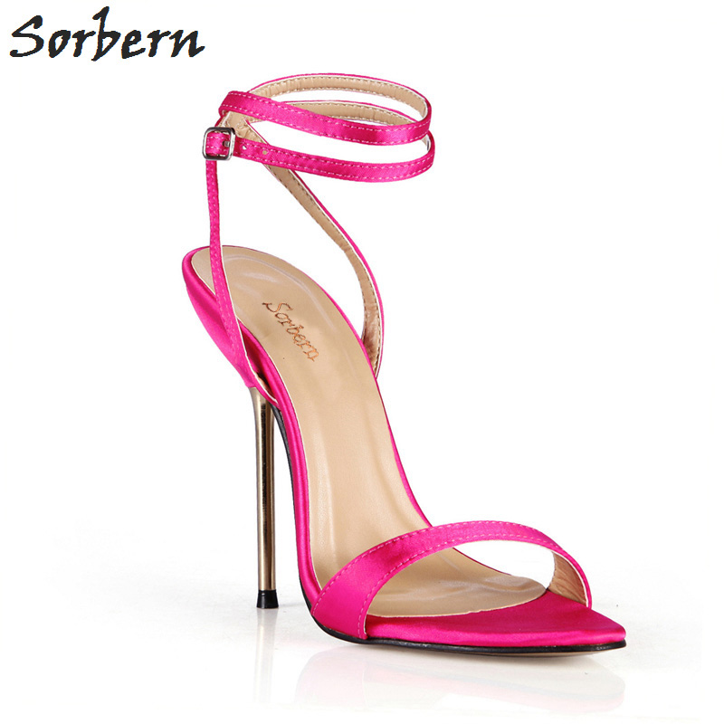 Sorbern Hot Pink Silk Holiday Shoes Custom Off White Shoes Sandals Metal High Heels Stilettos Bridal Shoes Ankle Straps CustomSorbern Hot Pink Silk Holiday Shoes Custom Off White Shoes Sandals Metal High Heels Stilettos Bridal Shoes Ankle Straps Custom
