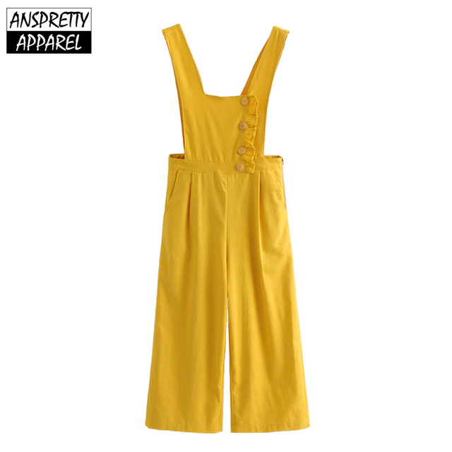 0a815dff537 Anspretty Apparel casual wide leg jumpsuit women buttons strap linen lolita  romper ladies yellow summer backless overalls