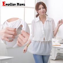 2014 New Arrival!! Wholesale Fashion Nursing Clothes Plus Size Pregnant Breast Feeding Casual Shirts Maternity Blouses