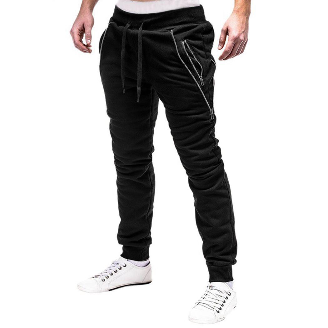 Zipper Pants Male Trousers Harem Fitness Mens Brand Hip-Hop Solid Slim Homme