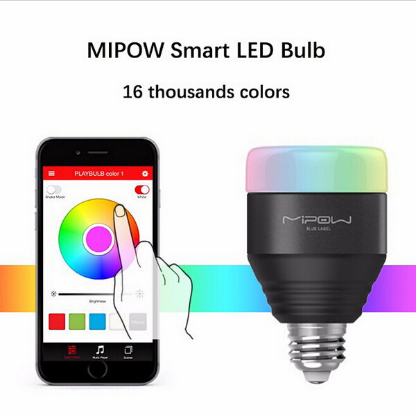 mipow bluetooth e27 led bulb rgb light app smartphone group controlled dimmable color changing home decor