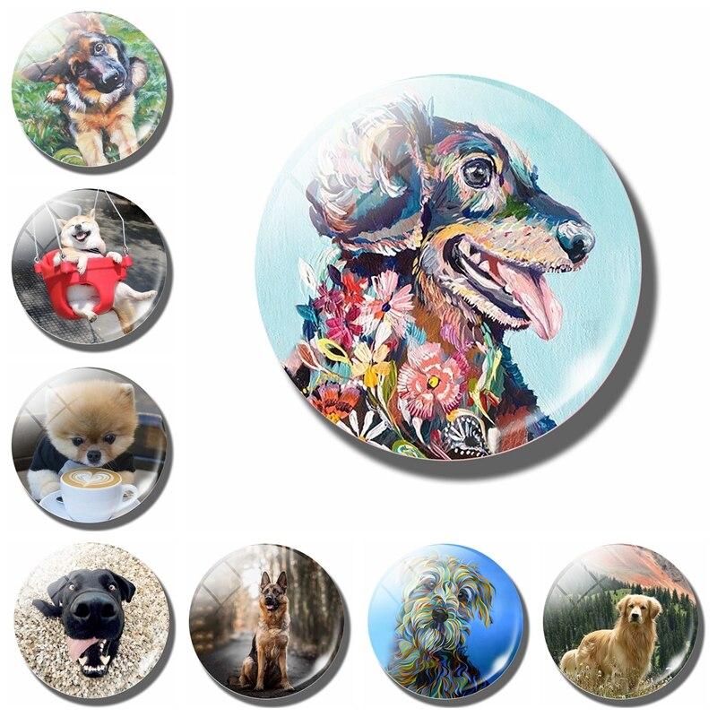 Цветной рисунок собаки 30 мм магнит на холодильник собака искусство фото стекло держатель для банкнот украшение для дома