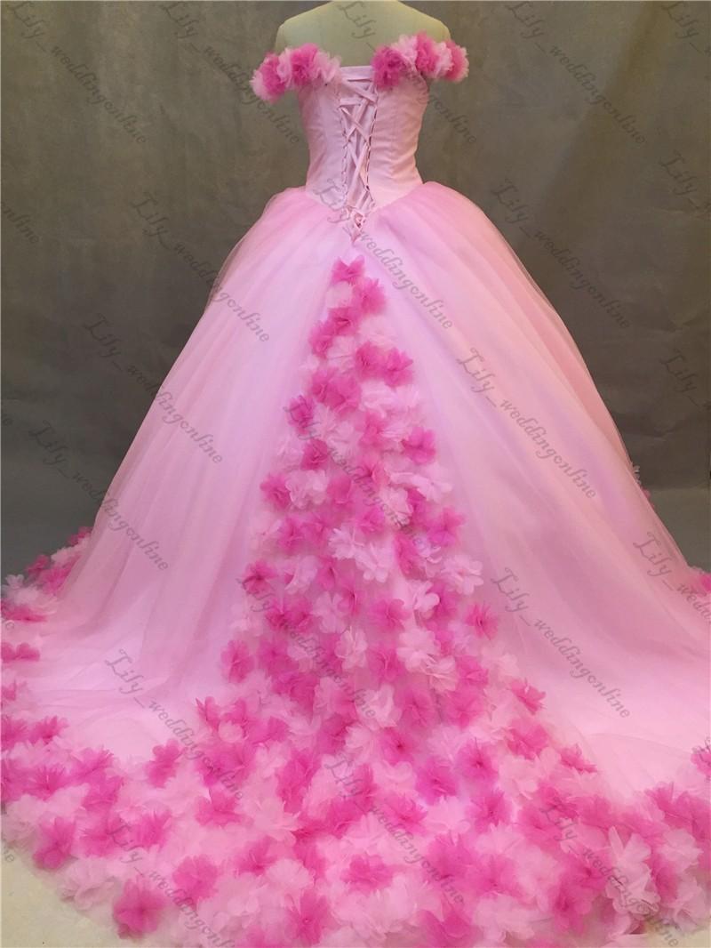 Rosa Vestidos de Robe De Mariage vestido de Bola Apliques 3D Longa ...