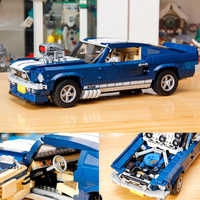 In stock 1648pcs Creator the Blue Classical Sports Car Model Building Blocks Ford Mustang Technic Car Toys Kids Christmas Gift