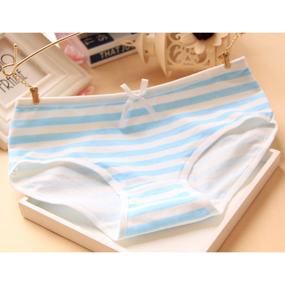 Lovely Panties Small Fresh Stripes Navy Bow Underwear Panties Cotton Cute Briefs Underpants Lingerie Knickers Intimate For Women