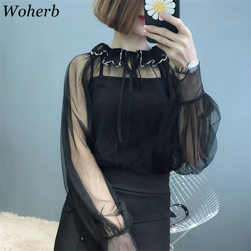 Woherb 2019 Korean Womens Tops and Blouses Two Piece Set Elegant Lace Shirt Sweet Ruffles Bow Blusa Perspective Blouses 20657