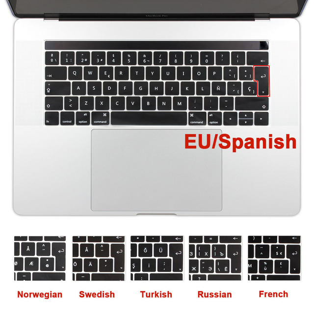 timeless design 9dd34 3e7fe US $3.54 29% OFF|EU Spanish Arabic French Russian Keyboard Cover Silicone  Skin for MacBook Pro 13 15 2018/2017 Touch Bar A1706 A1707 A1989 A1990-in  ...
