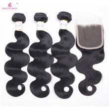 Beauty Grace Brasilian Body Wave 3 Bundlar With Closure 4 st / Lot Non Remy Brazilian Human Hair Weave Bundles With Closure