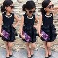 Poblado del Bebé Niños Ropa de Las Muchachas de La Princesa Negro Corto de Moda de Verano fresco Sólido PartyTulle Vestidos 2 3 4 5 6 7 años