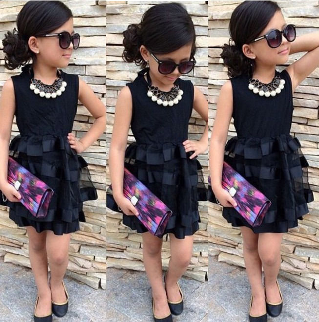Populous Baby Kids Girls Clothes Princess Black Short Fashion Summer Cool Solid PartyTulle Dresses 2 3 4 5 6 7 Years baby kids girls clothes dresses sleeveless cool princess lace hollow out summer dress clothes kids 2 3 4 5 6 7 years new cute