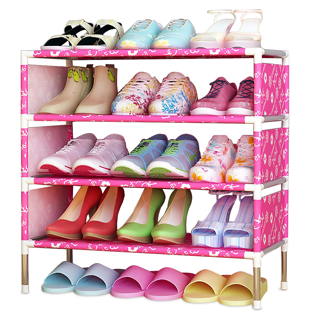 Shoes shelf Easy Assembled Non-woven 4 Tier Shoe Rack Shelf Storage Organizer Stand Holder Keep Room Neat Door Space Saving shoe cabinet hign quality shoe storage shoe racks shelf for shoes non woven fabrics furniture mueble zapatero