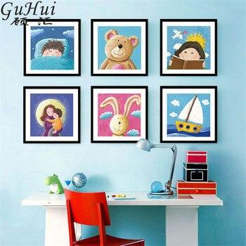 Altın çocukluk Karikatür Bear Tavşan Ay Yelkenli Tuval Dekoratif