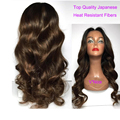 V'Nice Soft Wave Synthetic Lace Front Wig Brown Middle Part Synthetic Hair Wig Glueless Front Lace Synthetic Wigs with Baby Hair