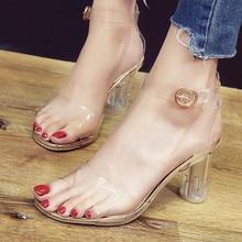 40d0040cd4f2 Clear Pvc sandals Women Transparent Crystal Sandals Round Heel Womans  Waterproof Beach Sandales lady high heels