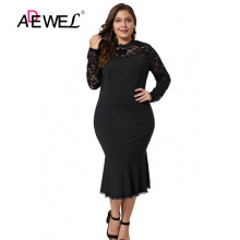 ADEWEL Sexy Women Black Lace Floral Bodycon Party Dress Plus size Hollow Out Midi Long Sleeve Transparent