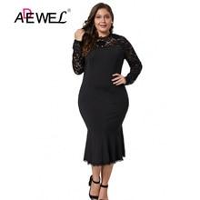 ADEWEL Sexy Women Black Lace Floral Bodycon Party Dress Plus size Hollow Out Lace Midi Dress Long Sleeve Transparent Lace Dress недорого