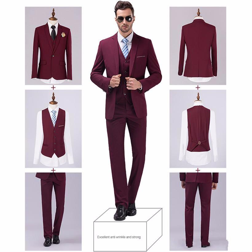 (Jackets+Vest+Pants) New Burgundy black Men Suits Slim Fit Tuxedo Brand Fashion Bridegroon Business Dress Wedding black Suits Blazer_conew1