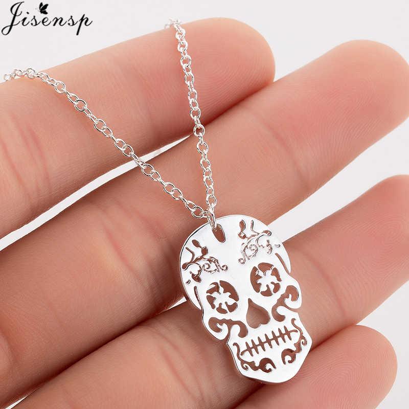 Jisensp Gothic czaszka wisiorek naszyjnik dla kobiet mężczyzn Halloween biżuteria osobowość amulet ze stali nierdzewnej naszyjniki