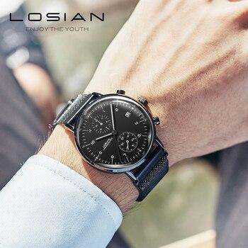 Losian Watch Men Quartz Wristwatches Minutes Hours Dial Date Display Stainless Steel Watch Gift for Men Friend Waterproof Watch
