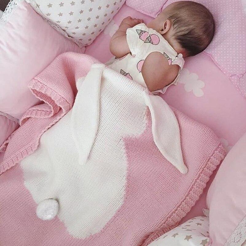 2a6a587f22a8 Newborn Knitted Kid Blanket Handmade Woolen Blended Soft Baby ...