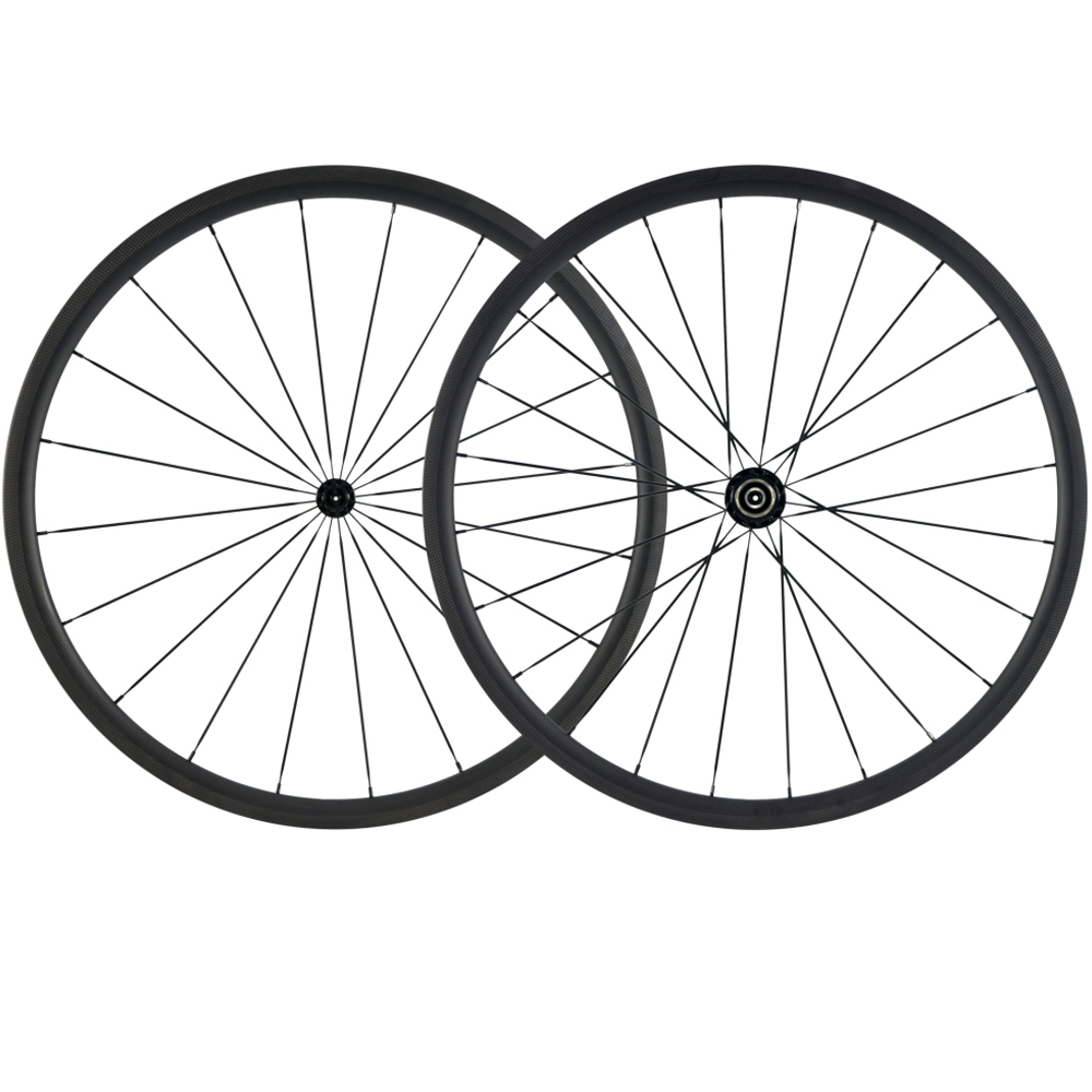 OEM 700C Road Bicycle Wheels 30mm Clincher Carbon Wheelset 25mm width U shape Tubeless 3k matte R13 road Carbon Fiber Wheels