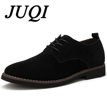 JUQI Men Casual Leather Shoes Oxfords Suede Mens Flats Spring Autumn Fashion Luxury Classic Big Size 38-48