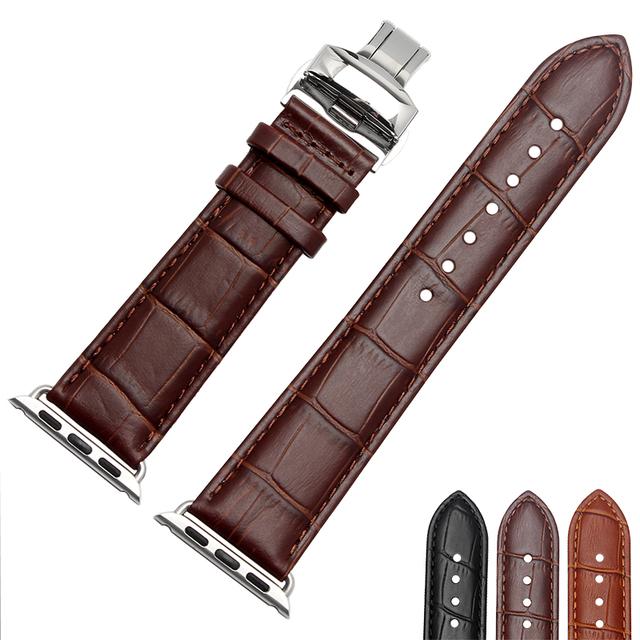 Patrón del cocodrilo clásico correas de reloj de cuero italiano para apple iwatch apple reloj band 38mm 42mm