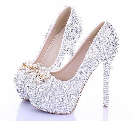Prom Heels Wedding Shoes Women High Heels Bow Crystal High Heel ...