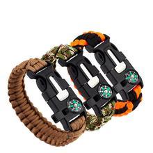 5 in 1 Emergency Survival Bracelet Compass Paracord Bracelets For Men Outdoor Camping Wristband Flint Fire Wrap Bracelet Homme