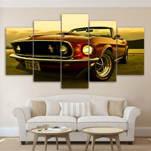 Modular Wall Art Paintings HD Printed Modern Car Posters Frame 5 Pieces Car Canvas Pictures Home Decor Living Room YK-145