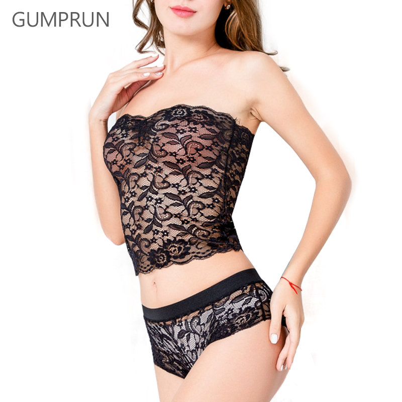GUMPRUN Sexy Women   Bra     Set   Ultra-thin Unlined Floral Lace   Bra   Panties   Set   Transparent Strapless Sexy Lingerie   Bra     Briefs     Set