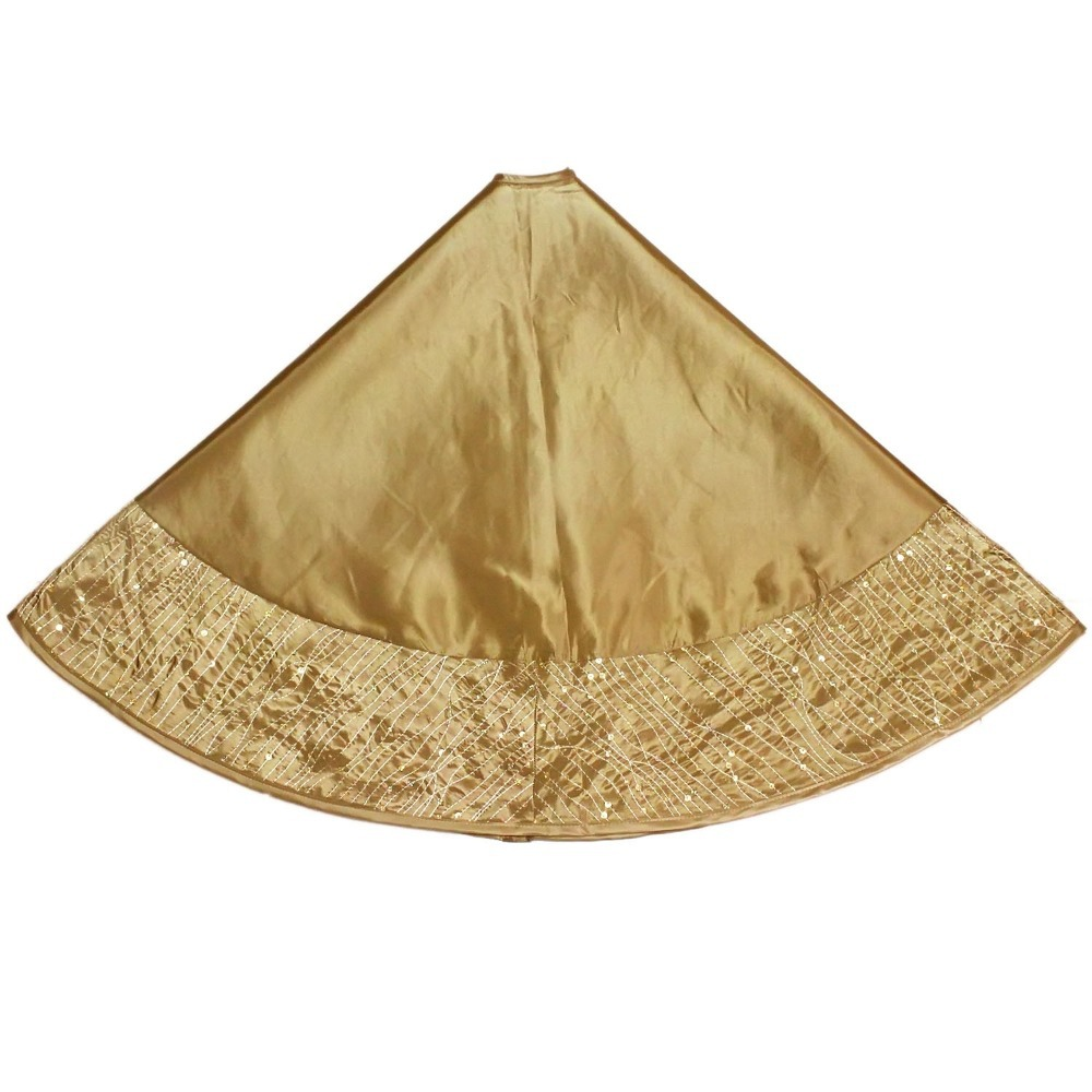 Us 17 99 Free Shipping Extra Large 50 Christmas Tree Skirt Glitter Sparkle Luxury Sequin Border Gold Ph813 In Tree Skirts From Home Garden On