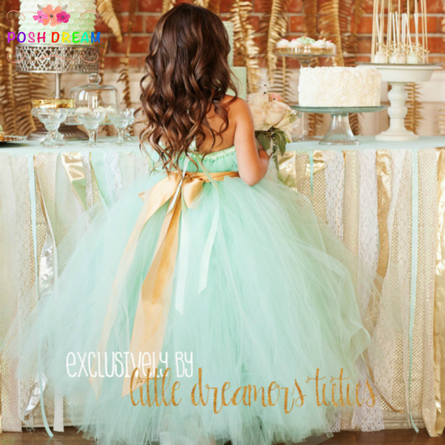 08c8df4513 POSH DREAM Mint Green Flower Girl Dress for Wedding Party Mint Green Gold  Sash Birthday Photograph Children Girls Clothing