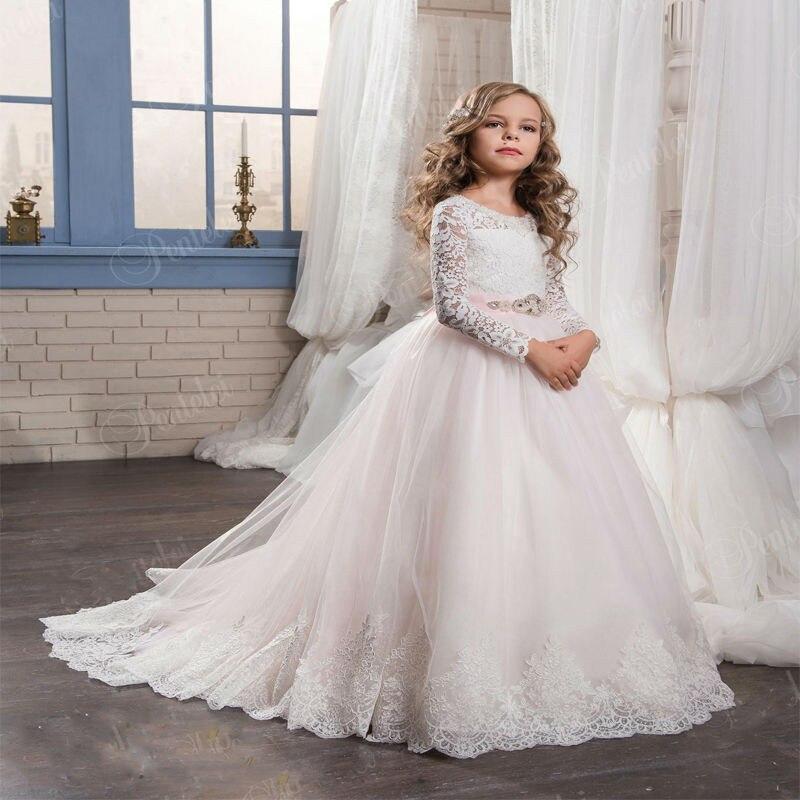 Superbe robe de fille à fleurs pour mariage dentelle rose clair Appliques manches longues nœud ceinture robes d'anniversaire longueur de plancher 0-12 ans