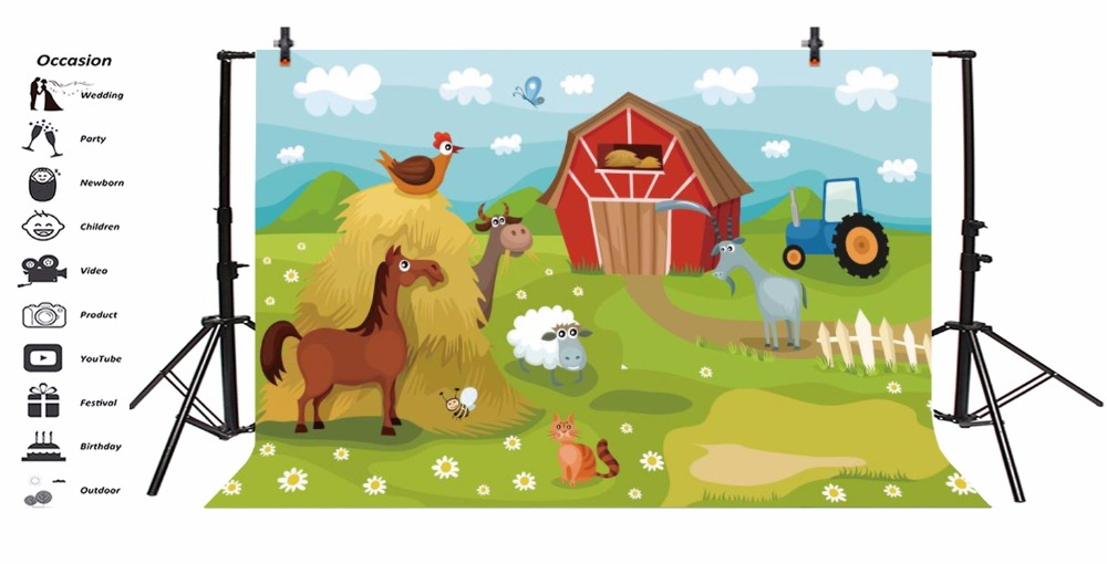 Laeacco Photo Background Rural Farm Animal Grass Cloud Baby Newborn Birthday Party Cartoon Photo Backdrop Photocall Photo Studio in Background from Consumer Electronics