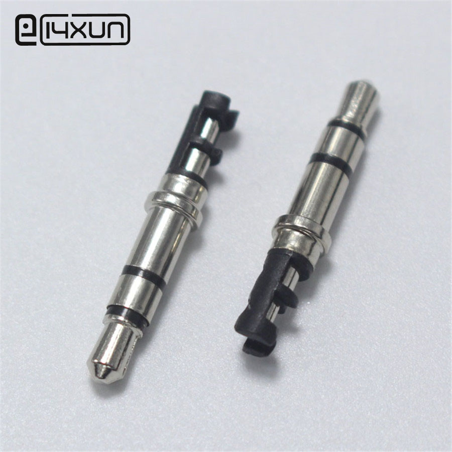 EClyxun 10pcs 3.5mm 3 pole Stereo Headset Metal Plug 3.5 Nickel Plated Black Audio Plugs Adaptor Connector for Earphone