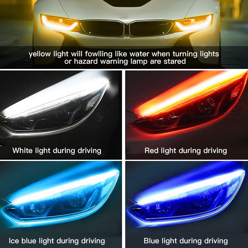 2x Ultrafine DRL 30 45 60cm Daytime Running Light Flexible Soft Tube Guide Car LED Strip White Red Turn signal Yellow Waterproof 5