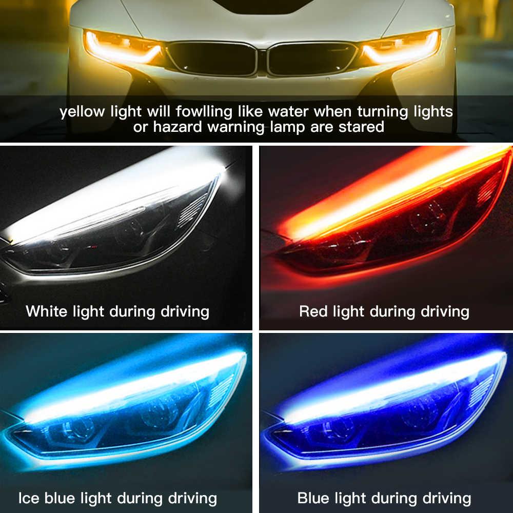 2x Ultrafine DRL 30 45 60 ซม.ไฟวิ่งกลางวันคู่มือหลอดไฟแบบยืดหยุ่นอ่อนรถ LED Strip สีขาวเปิดสีแดงสัญญาณสีเหลืองกันน้ำ