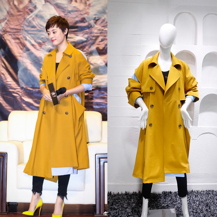 New 2019 contrast Color Patchwork Women's Casual   trench   overcoat Autumn Winter British Fashion Windbreaker