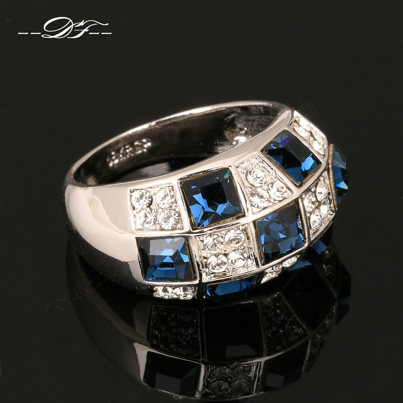 Hot Sale Luxury Cubic Zirconia Vintage Finger Rings Silver Color Fashion Brand Jewellery/Jewelry For Women Wholesale DFR032